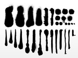 vector set of detailed grunge spray paint strokes and textures