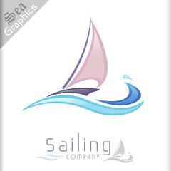 Sea Graphics Series - Sailboat and Sea Waves