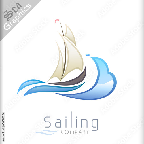 Sea Graphics Series - Sailboat and Sea