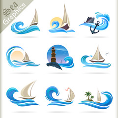 Sea Graphics Series -  Travel by Sea    Icons