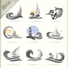 Sea Graphics Series -Sea Travel   Icons