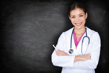 Female doctor woman teaching at medical school