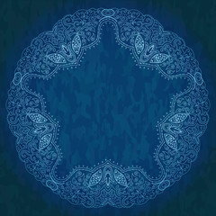 Ornamental round lace pattern, circle background with many detai