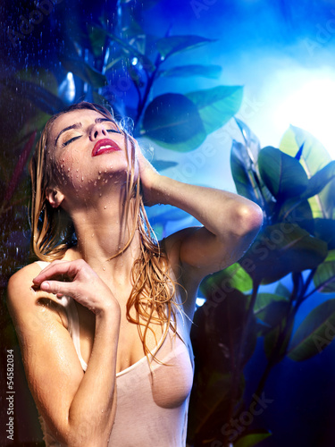 Wet woman with water drop.