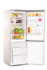 Open fridge full of healthy food products