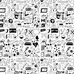 design elements doodle icons, hand drawn background, texture