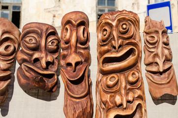 wooden carved funny masks spring fair rural crafts