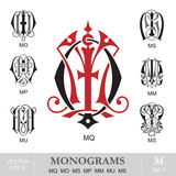 Vintage Monograms MQ MO MS MP MM MU MS