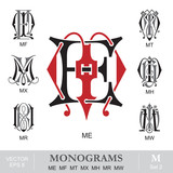 Vintage Monograms ME MF MT MX MH MR MW