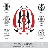 Vintage Monograms MA MB MC MD MJ MO MG