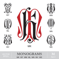 Vintage Monograms MK MY MM ML MN MV MS