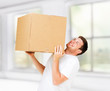 man carrying carton heavy box