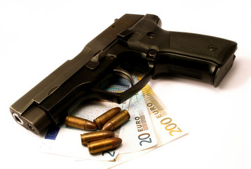 Gun, money and bullets