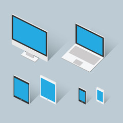 Isometric modern computer set vector illustration
