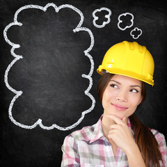 Thinking construction worker girl on chalkboard