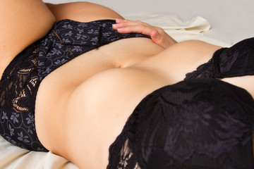 Closeup of woman abdomen and underwear