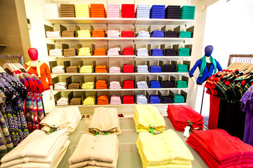 Clothing section in the department store
