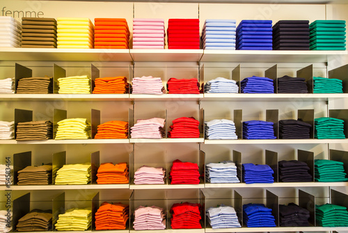 Folded clothes in the department store