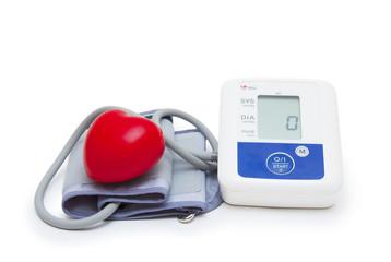 Digital blood pressure meter with love heart symbol