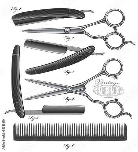 Comb, Scissors and Razor in vintage engraved style