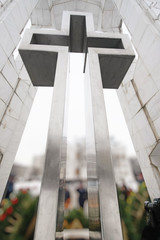 Huge metallic cross monument