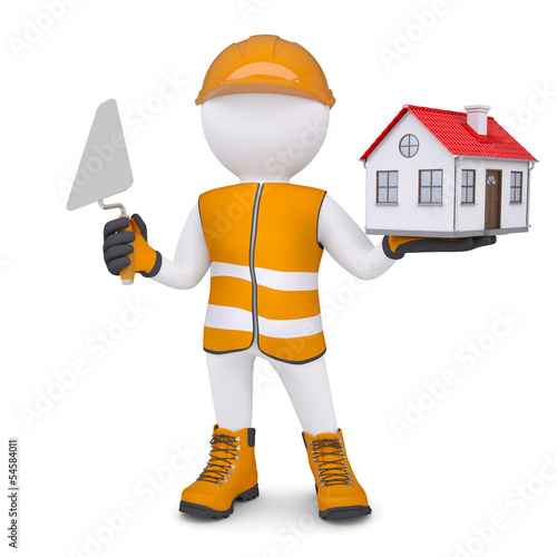 3d man in overalls with trowel and house