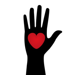 silhouette of the hand with a red heart