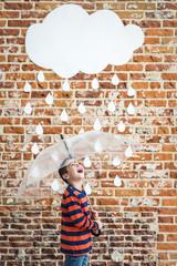 Little Child under White Cardboard Raindrops