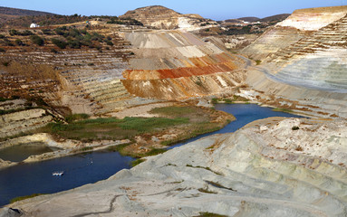 Big open air bentonite mining.Milos,Greece.