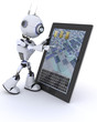 Robot with mobile tablet device