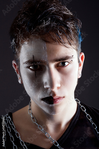 Gothic boy with artistic make-up
