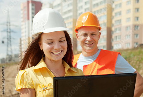 two happy builders