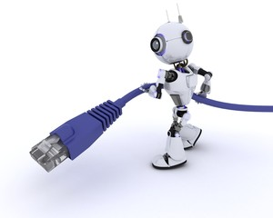Robot with an RJ45 data cable