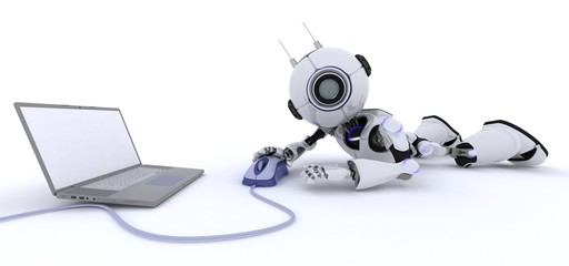 Robot with a laptop