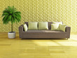 Sofa with yellow pillows