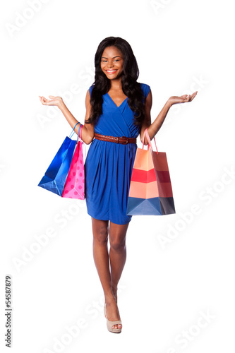Happy consumerism shopping woman