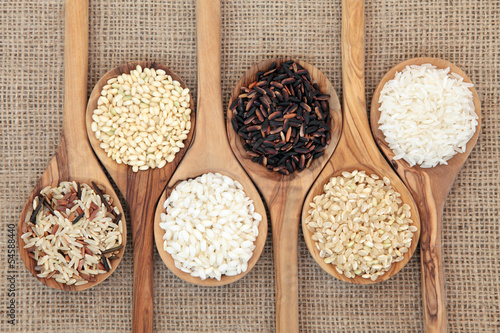 Deurstickers Assortiment Rice Varieties