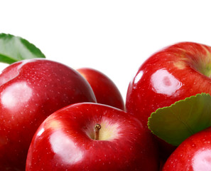 Fresh apples on a white background
