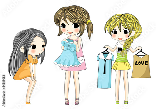 Cute stylish cartoon girls showing her new dress via shopping se