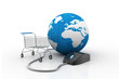 Mouse, globe and shopping cart symbol. Global purchase
