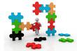 3d man building a puzzle.