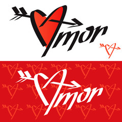 Love typography. Love calligraphy. Amor. Heart pierced by an arr
