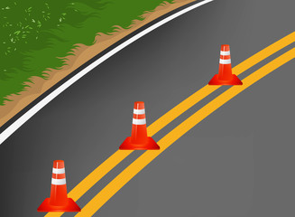 Roa with traffic cones cartoon vector background