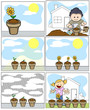 Kids Planting and Gardening in Cartoon Style