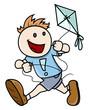 Kid Flying Kite - Vector Illustrations