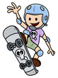Happy Child Skateboarding - Kid Vector Cartoon Illustration