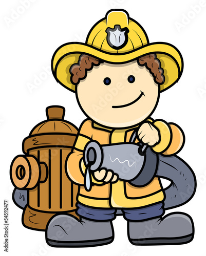 Little Fireman - Kid Vector Cartoon Illustration