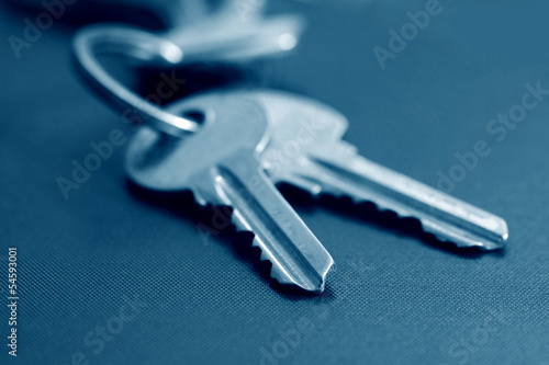 two keys in blue tone