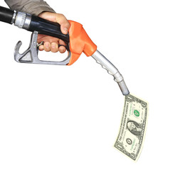 oil pump with dollar bill