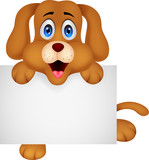 Cute dog cartoon with blank sign